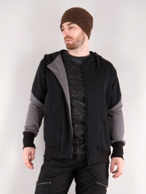 """Námo Duo\"" zipped hoodie, Black and grey"