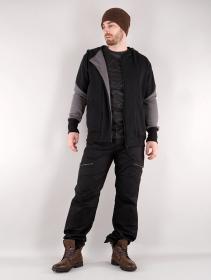 "\""Námo Duo\"" zipped hoodie, Black and grey"