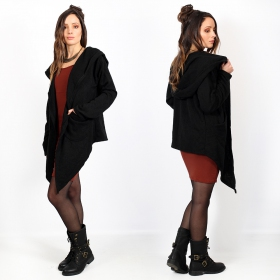 """Nasirah\"" asymmetric cardigan, Black"