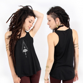 """Nature spirit\"" tank top, Black and silver"