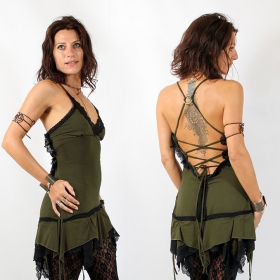 """Nehelenia\"" Liloo Dress, Khaki black lace"