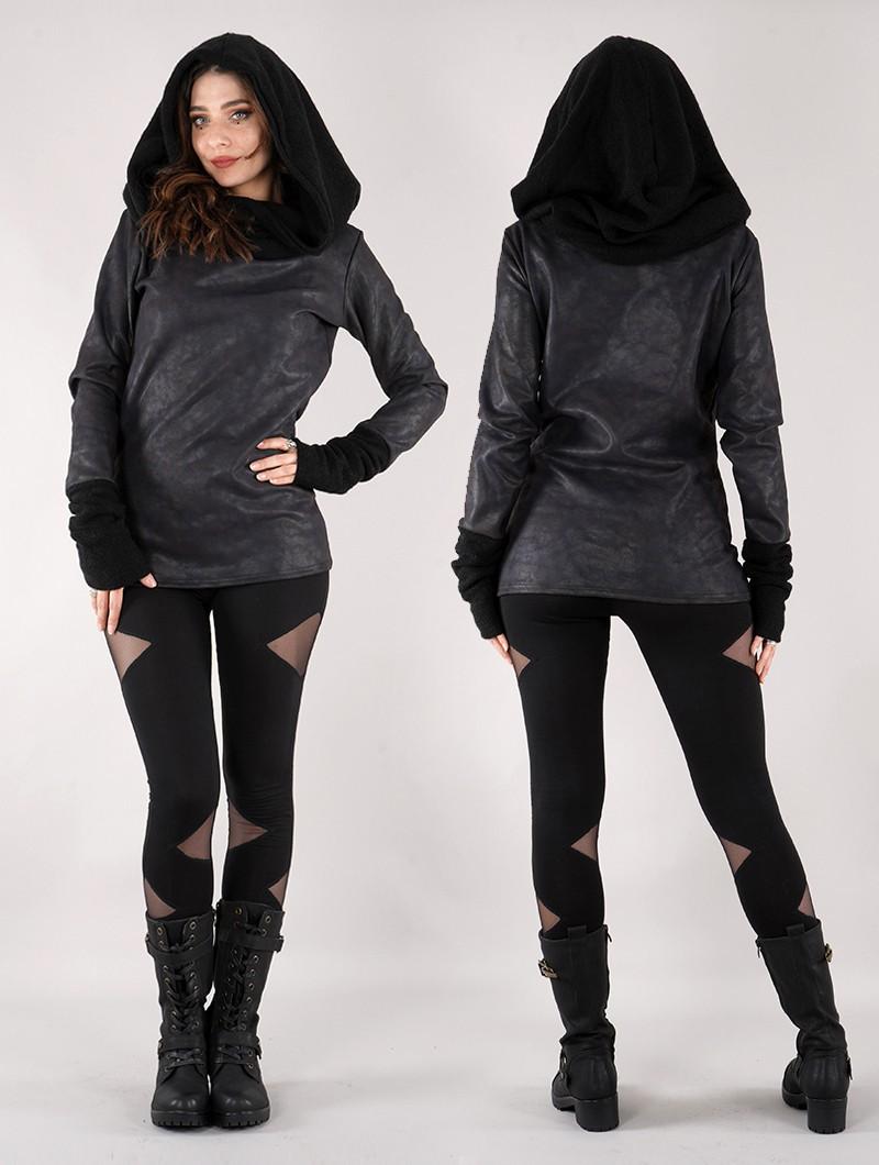 "\""Nemöoz\"" synthetic leather sweater, Black"