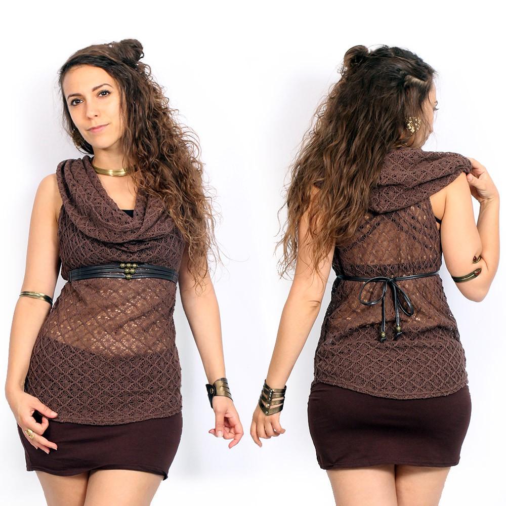 "\""Nephilim\"" crochet sleeveless top, Brown"