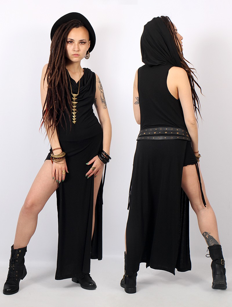 "\""Nephilim\"" long slit dress, Black"