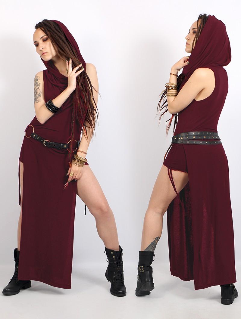 "\""Nephilim\"" long slit dress, Wine"