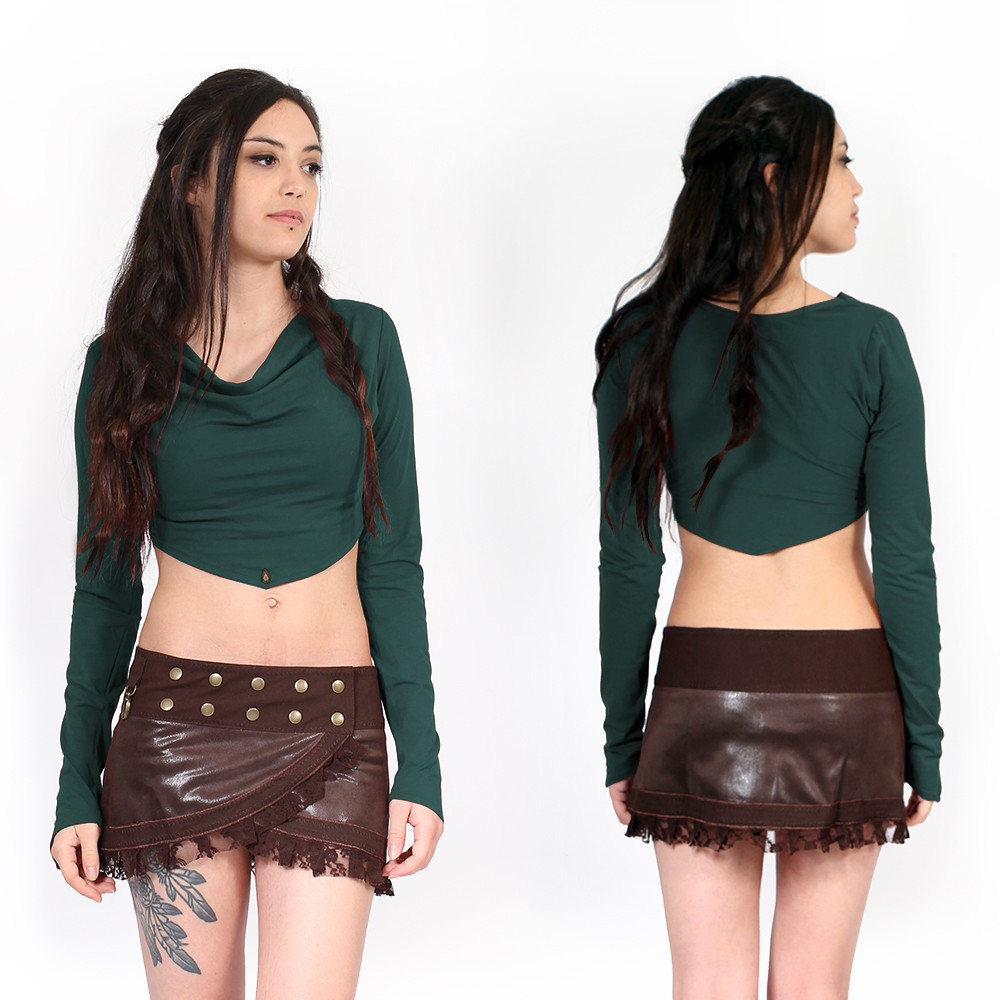 """Neziräa"" yggdrazil long sleeved teal bolero, cowl neckline crop top"