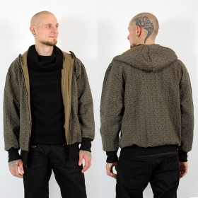 "\""Nibiru Kikko\\\"" GadoGado roundhood jacket, Khaki and black"