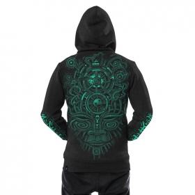 "\""Nightvision\"" zipped hoodie, Mottled dark grey"