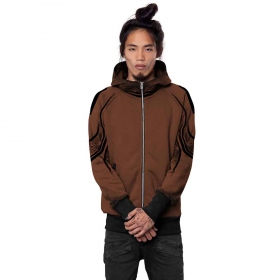 """Nightwalker\"" zipped hoodie, Dark orange"