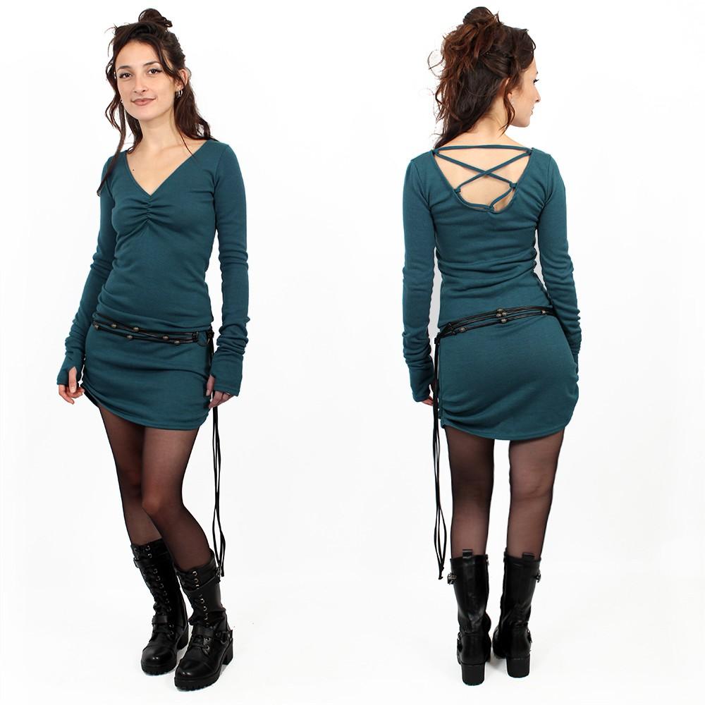 "\""Nikkäa\"" sweater dress, Teal"