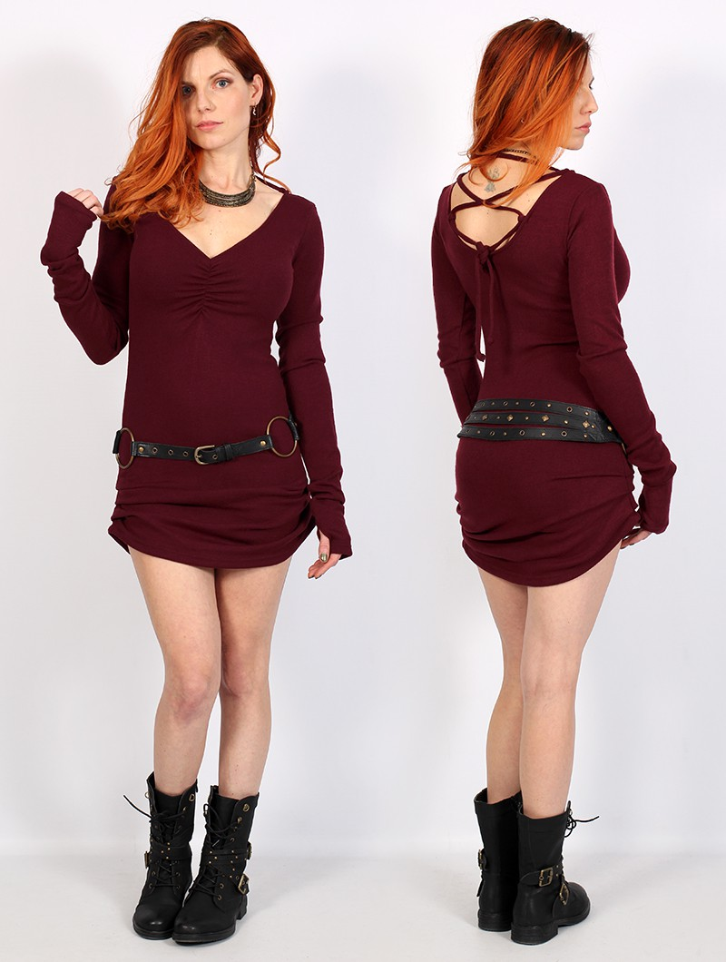 "\""Nikkäa\"" sweater dress, Wine"