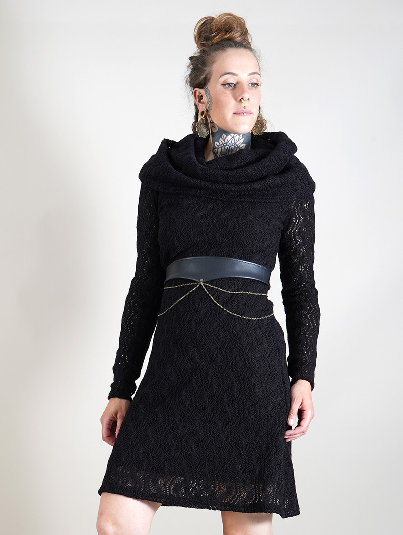 "\""Nouchka\"" crochet lining dress, Black"