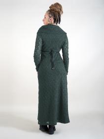 "\""Nouchka\"" crochet lining long dress, Black & dark teal"