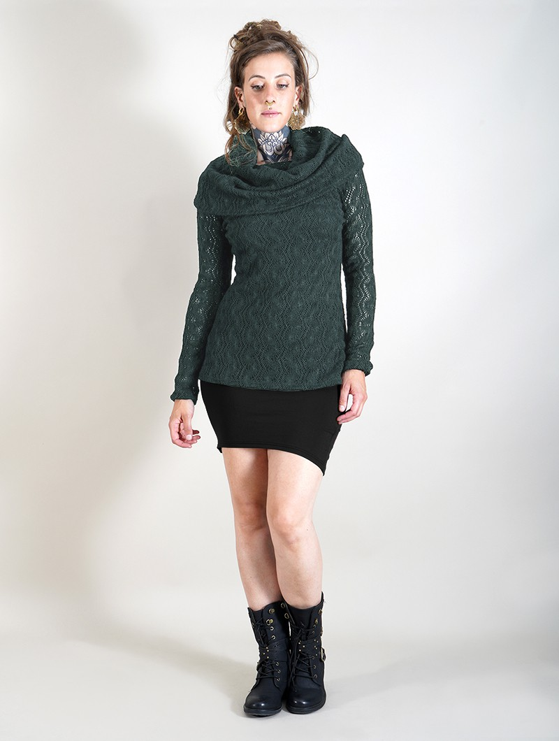 """Nouchka\"" crochet lining thin pullover, Black and dark teal"