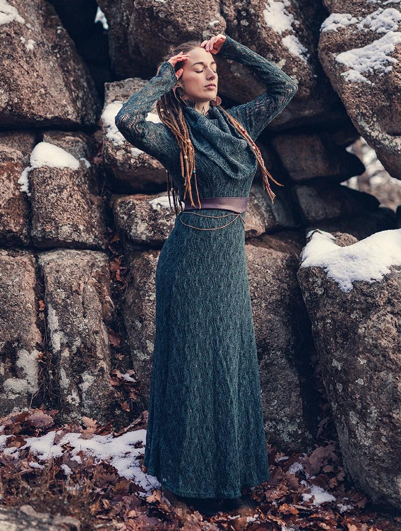 "\""Nouchka\"" crochet long dress,  Bluish grey and black lining"