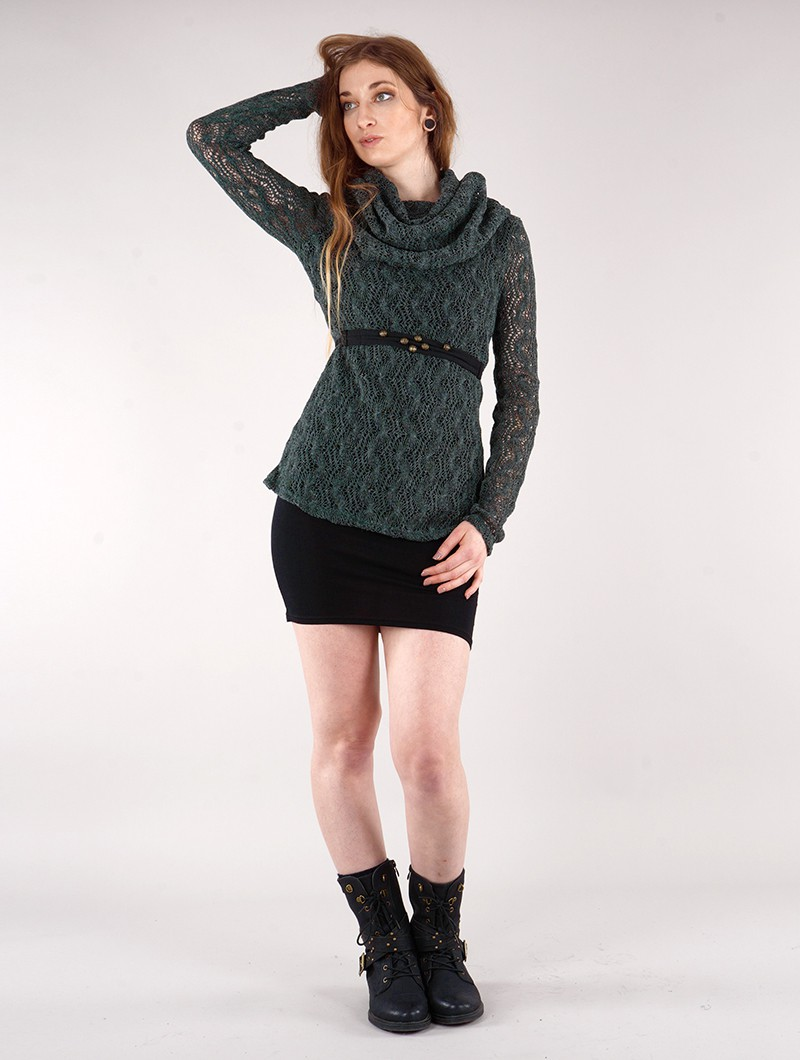 """Nouchka\"" crochet pullover, Bluish grey and black lining"