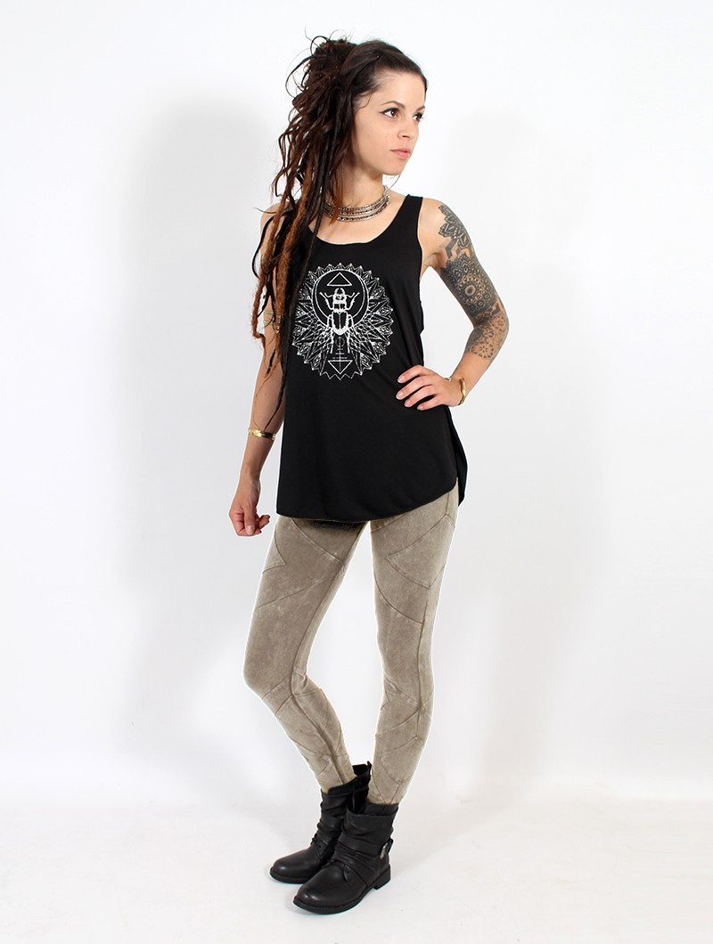 "\""Nyepi\"" long leggings, Brown"