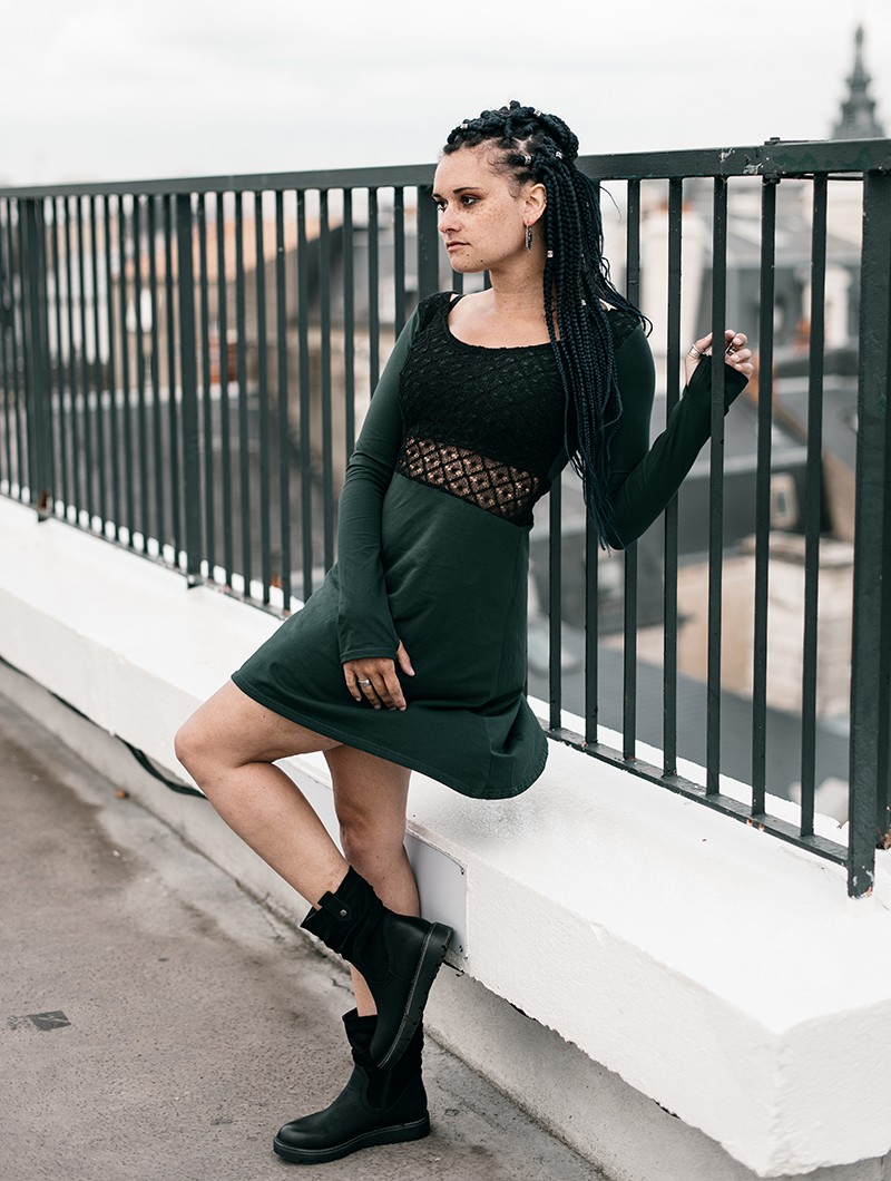 """Nymphea\"" skater dress with crochet, Black & Peacock teal"