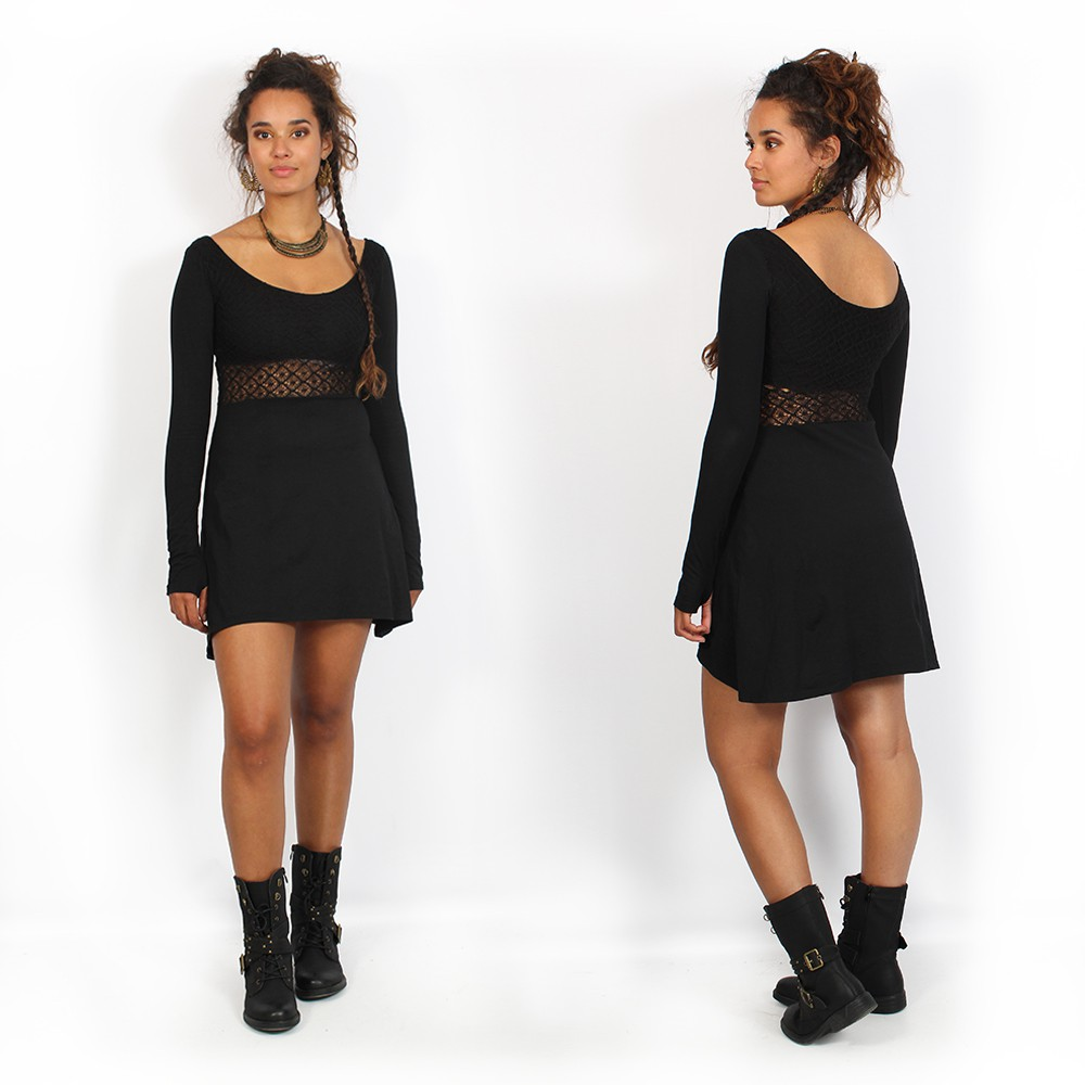 """Nymphea\"" skater dress with crochet, Black"