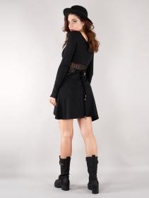 "\""Nymphea\"" skater dress with crochet, Black"