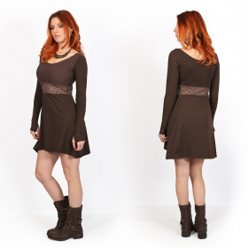 """Nymphea\"" skater dress with crochet, Brown"