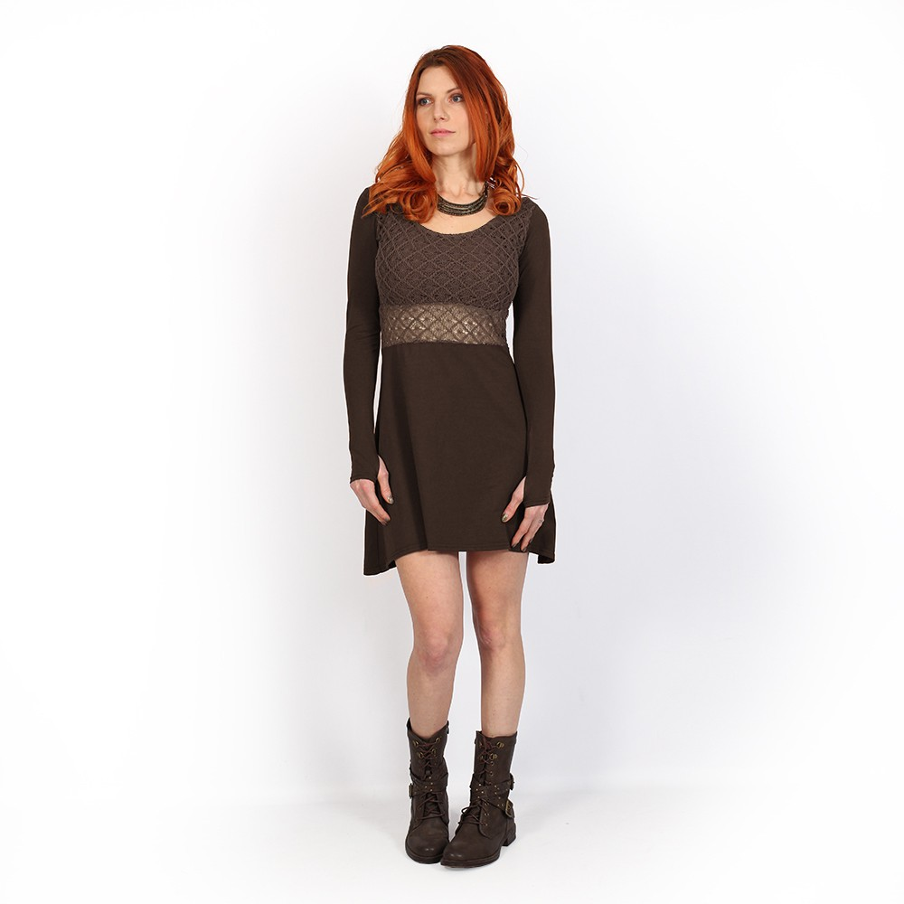 ""\""""Nymphea"""" skater dress with crochet, Brown""1000|1000|?|en|2|238d7232831db32b6809098e55f7c7af|False|UNLIKELY|0.29116761684417725