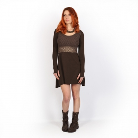 ""\""""Nymphea"""" skater dress with crochet, Brown""280|280|?|en|2|2738c695e3d92ea1c9a05eb3acdc1cf4|False|UNLIKELY|0.2965492010116577