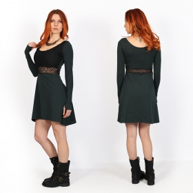 """Nymphea\"" skater dress with crochet, Dark teal"