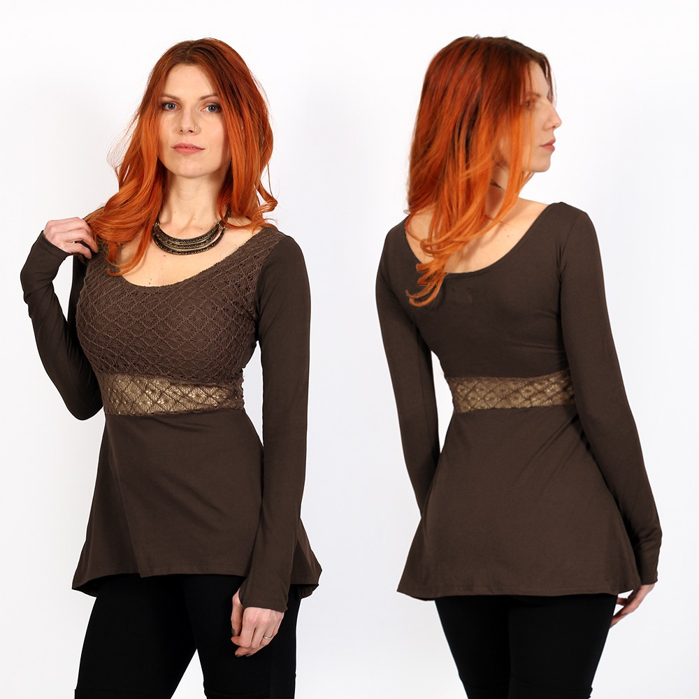"""Nymphea\"" skater tunic with crochet, Brown"