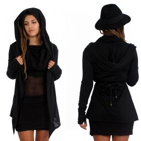 "\""Nyxx\"" semi transparent cardigan, Black"
