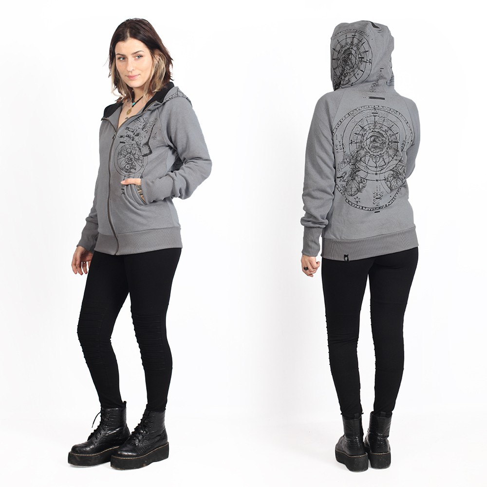 """Obscure\"" zipped hoodie, Wash grey"