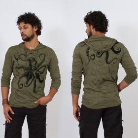 "\""Octopus\"" hooded t-shirt, Khaki"