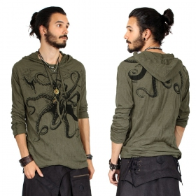 """Octopus\"" hooded t-shirt, Khaki"