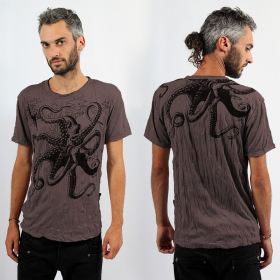 "\""Octopus\\\"" T-shirt, Brown"