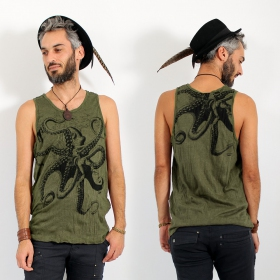 "\""Octopus\\\"" tank top, Khaki"