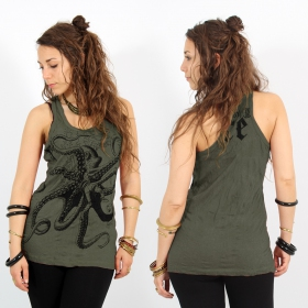 """Octopus\"" tank top, Khaki"