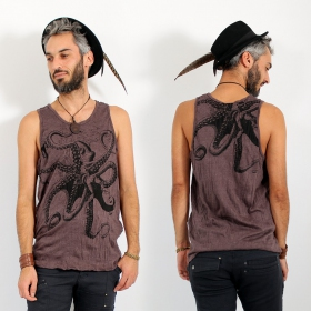 "\""Octopus\\\"" tank top, Taupe"