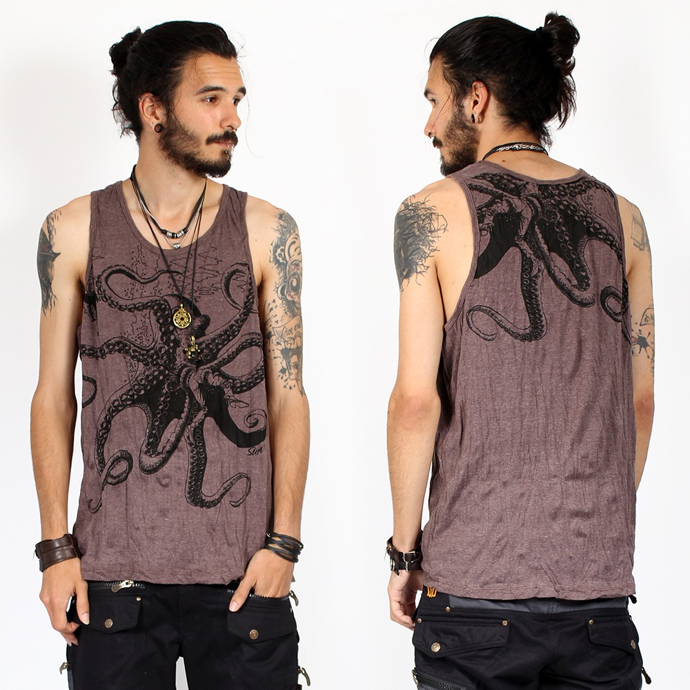 """Octopus\"" tank top, Taupe"