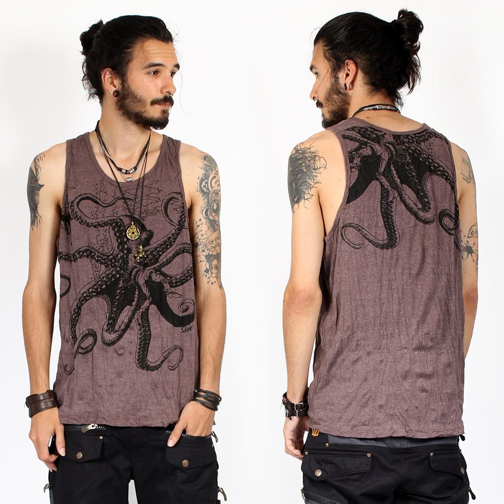 "\""Octopus\"" tank top, Taupe"
