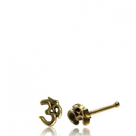 "\""Ohm\\\"" brass nose stud"