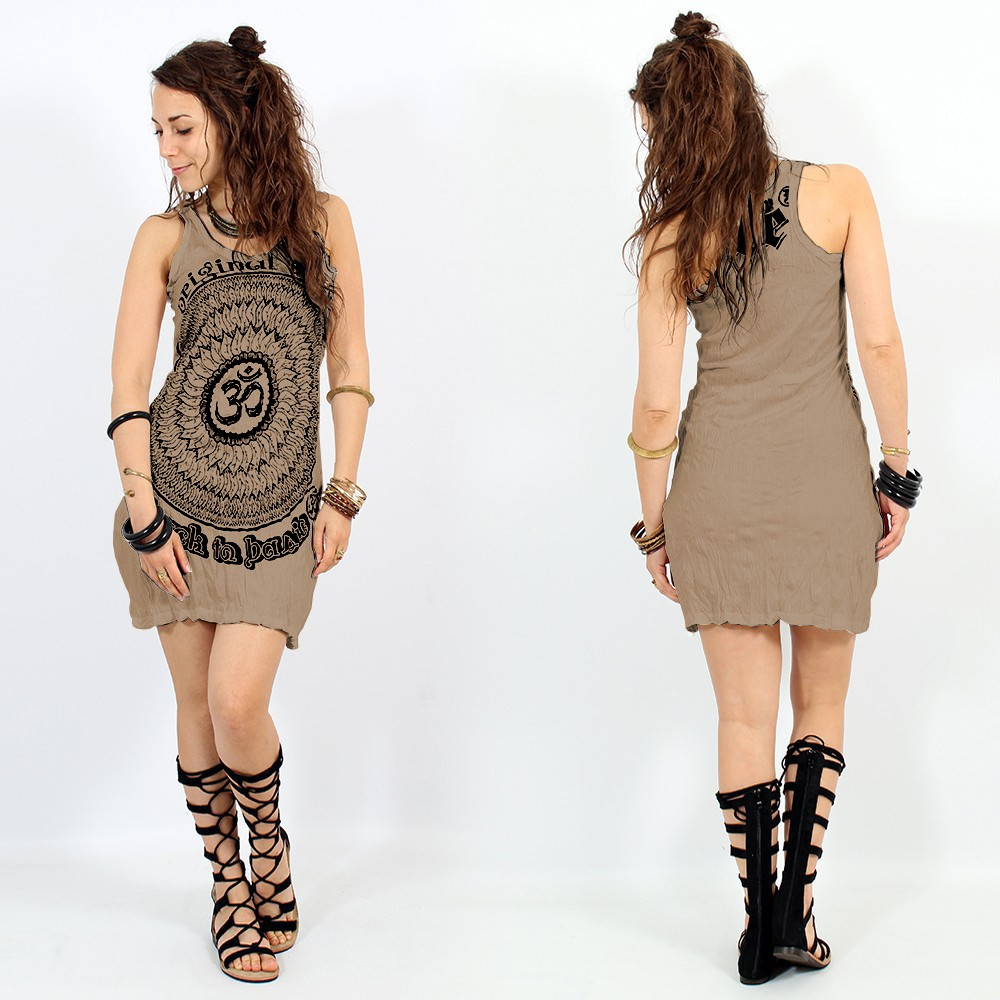 "\""Ohm Mandala\"" dress, Light brown"