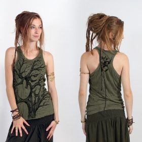 "\""Ohm tree\\\"" tank top, Khaki"
