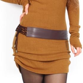 "\""Oleyäa\"" belt, Brown faux leather"