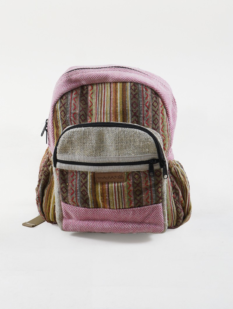 """Onaona\"" backpack, Beige jute canvas with colorful patterns"