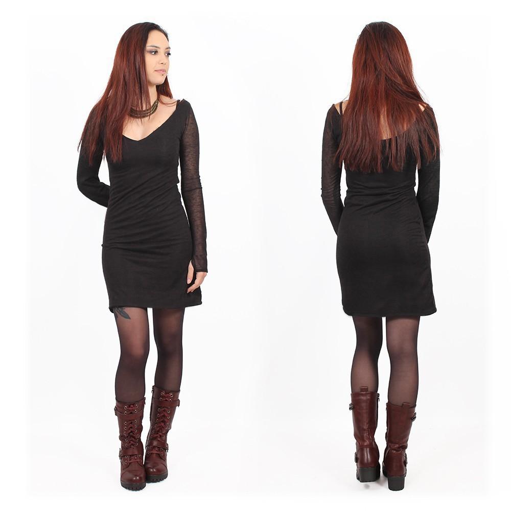 "\""Oneïssa\"" long sleeved dress, Black"