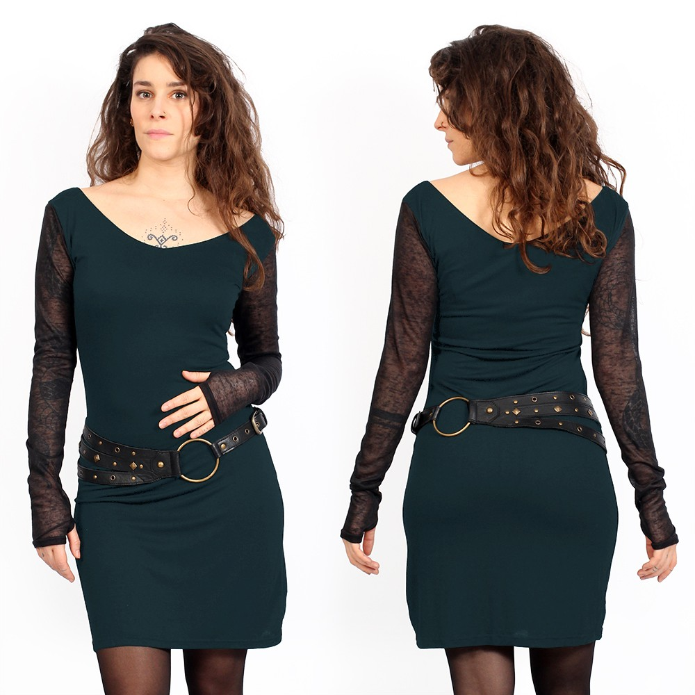 Oneïssa long sleeved dress, Dark teal and black