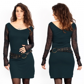 Oneïssa long sleeved dress, Dark teal and black