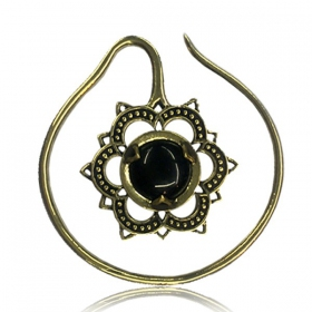 "\""Onyx Labangalata\\\"" brass ear jewel"