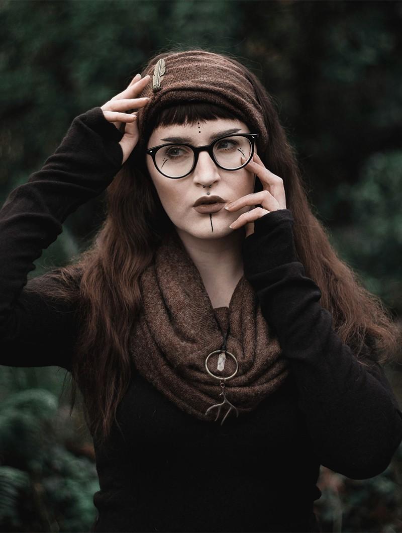 "\""Oöna\"" Gender neutral snood scarf, Brown"