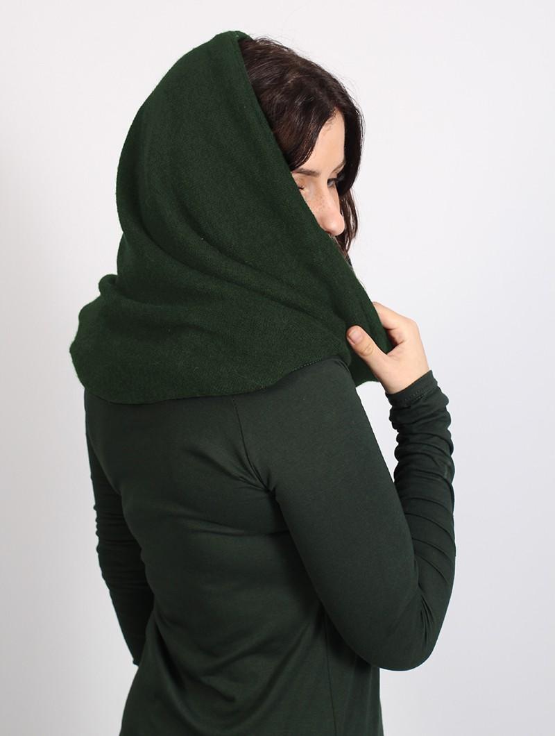 "\""Oöna\"" Gender neutral snood scarf, Forest green"